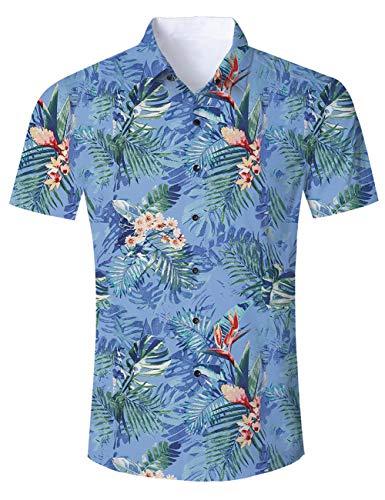AIDEAONE Männer Floral Hawaii Kurzarm-Polo-Shirt Knopf Hemd Urlaub Hemd Plus Größe