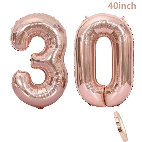 2 Balloons 30 Number, 30 Number Balloon Birthday Decoration Rose Gold Girl, 40 inch Inflatable Helium Balloon Rose Figures with Gold Balloons, 30 Giant Balloon Helium Foil for Candy Decorations Birthday Party, San Valentine, Prom (XXXL 100 cm)