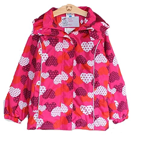 Koo-T Girls Rain Coat Jacket Hood Windbreaker Spring Summer Mac Packable Age 2 3 4 5 6 7 8 9 10 11 Years