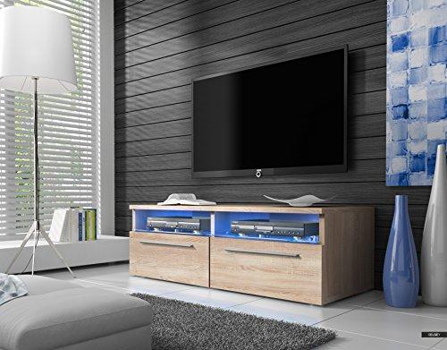 Meuble TV SIENA / Cabinet pour la TV / éclairage LED (Sonoma)