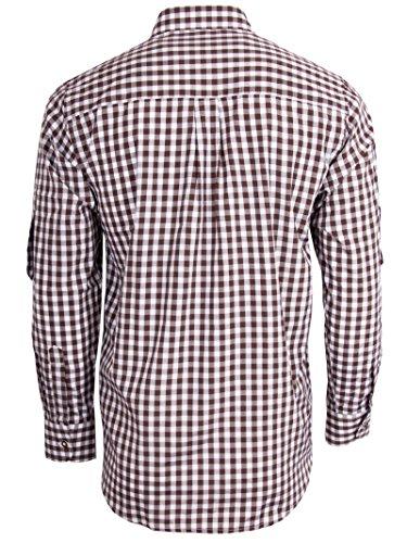 Fuchs Trachtenhemd kariert mit Krempelärmeln für Herren (XL, braun) - 2