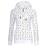 Newbestyle Sweatjacke Damen Pullover Jacke Hoodie V Ausschnitt Pulli Sweatshirt Kapuzenpullover Print Oberteile mit Kordel und Zip Weiß L