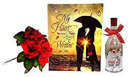 Love Gift Combo - Book Theme Greeting Card, Message Bottle & Bunch Of 5 Artificial Flower