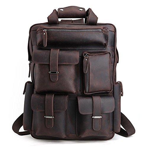 Tiding uomo vera pelle all'aperto duffels viaggi grande capacità militare casuale zaino spalla borsa marrone