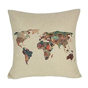 coolsummer Lino y Algodón Cuadrado Cojín de mapa del mundo de América Mapa Manta Decorativa Funda de almohada cojín funda de almohada 18x 18pulgadas
