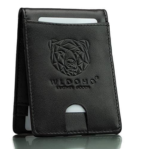 WLDOHO® Männer Kreditkartenetui mit Geldklammer und Münzfach \'BOAN\'   6 Fächer   mit Geschenk-Box   Herren Geldbörse Kartenetui mit RFID Schutz in Schwarz