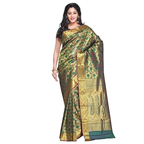 Varkala Silk Sarees Women's Art Silk Banarasi Saree With Blouse Piece(NS5101PGV_Green_Free Size)