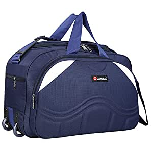 Zion Bag Polyester Waterproof 40 L Zip Closure Blue Unisex Travel Duffel Bag with 2 Wheels