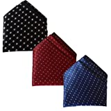 Sunshopping men's multi coloured polka dotted pocket Square pack of three(combo) (Black Maroon Navy blue)
