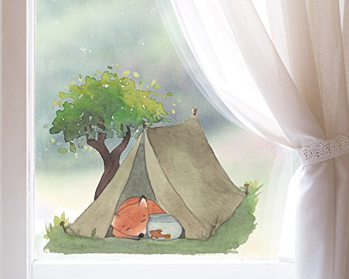TinyFoxes Fensterbild Fuchs Geht Zelten - Wiederverwendbare Deko fürs Kinderzimmer
