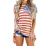 Petalum Damen Sommer T-Shirt Amerikanisch Flagge Kurze Ärmel Bluse Shirt Top Casual Rundhalsschnitt Übergroß Oberteil Unregelmäßig