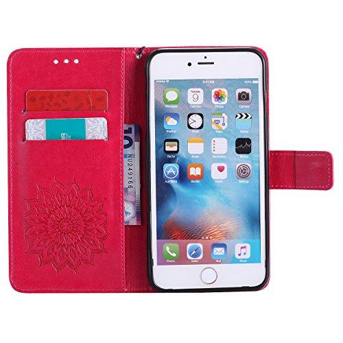 Coque iPhone 6S Plus, Coque iPhone 6 Plus, SpiritSun Etui Coque pour Apple iPhone 6 Plus / 6S Plus (5.5 pouces) Mode PU Cuir Housse de Protection Pochette Folio Cas Cover Stand Wallet Case à Rabat Mag Rouge