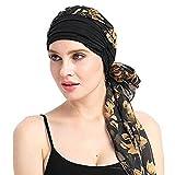 URSING Damen Baumwolle Kopftuch Bandana Hat Fur Haarverlust Frauen Indien Muslim Elastic Turban Chiffon Drucken Long Tail Hut Kopftuch Wrap Kopfbedeckung Schal Mützen Headscarf (A)
