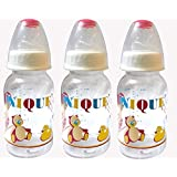Unique Plastic 125 Ml Feeding Bottles-Pack Of 3 (UP-24_Multi-Colour)