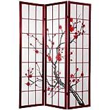 Oriental Furniture Quality divisorio in stile giapponese,  piedi, Cherry Blossom Shoji Screen, palissandro
