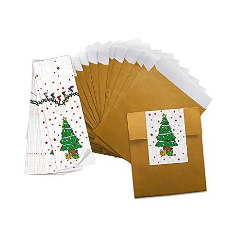 10petits couleur or Mini Sacs Papier de sachets Bijoux Sacs Papier (9,5x 14cm) + 10Autocollants vert blanc rouge Noël Arbre (5x 15cm) autocollant de Noël–Mini emballage de Noël pour Give aways d'argent,...