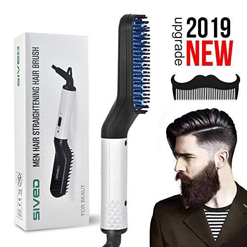 Peine alisador de barba para hombres - Cepillo alisador de cabello eléctrico rápido multifuncional, peine rizador de pelo