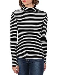 Pilot Women's Stripe Long Sleeve Ribbed Roll Neck Top in Black