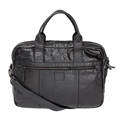 Bear Design Business- / Laptop- / Aktentasche Collegetasche XXL (37/30/10) UNISEX, gewaschenes Leder CL32818 Schwarz