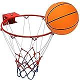 Pellor Anillo de Aro Sólido de Baloncesto con Baloncesto de Goma y Inflador Interior y Exterior Montado en la Pared para Niños Infantil