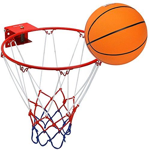 Pellor Kinder Basketball Set Solider Edelstahlrahmen Druckfederdesign Mini Basketball Brett Basketballring Freizeit Sport Mit Gummi Basketball Und Pumpe (Rot korb)
