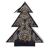 Design Windlicht Tannenbaum weiß schwarz 26x31 Metall Teelicht Teelichthalter , Farbe:Schwarz