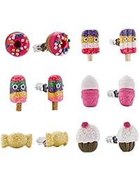 minihope Colorful postres Stud Pendientes Set para niños niñas en caja bonita