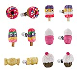 Minihope Kinder-Schmuck, Hypoallergen Polymer Clay Ohrringe Set für Kleine Mädchen, Bunte Desserts Süßigkeiten Ohrstecker für Kinder
