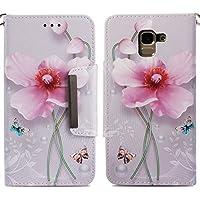 Handyhülle Samsung Galaxy J6 2018,HUDDU Blumen Schmetterling Muster Pink Schutzhülle Samsung J6 2018 Hülle Flip... preisvergleich bei billige-tabletten.eu