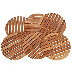 Kuber Industries™ Round Bamboo Table Coaster, Pan Pot Holder, 19 x 19 cm, 6 Piece Set