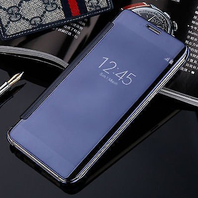 ARD Accessories Luxury Clear View Mirror Smart View Case Flip Cover for Samsung Galaxy J7 NXT -Blue
