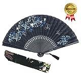 """Omytea - Ventaglio manuale pieghevole """"Morning glory"""", da donna, in stile rétro vintage cinese/giapponese, con custodia in tessuto per proteggerlo, Black"""