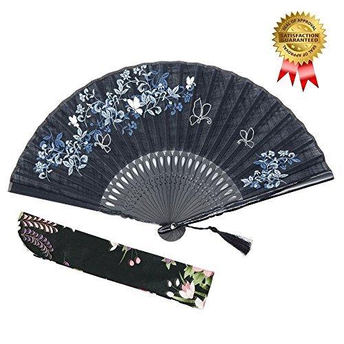 OMyTea 'Morning Glory' Faltfächer für Frauen, japanischer/chinesischer Vintage-Retro-Stil, mit einem Stoffbeutel zum Schutz Schwarz