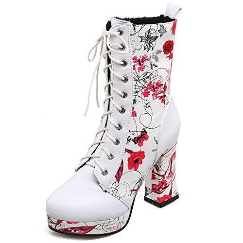 COOLCEPT Damen Mode-Event Absatzschuhe Blume-print Schnürung Blockabsatz Knöchel Martin Stiefel mit Plattform Rot