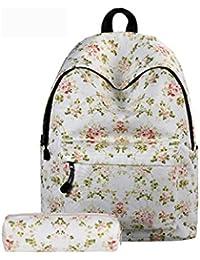 Juego de 2,Backpack Mochilas Escolares Mujer Mochila Escolar Lona Bolsa Casual Bolsa De Hombro