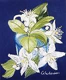 Handgemaltes Bild mit Kuchen auf Papier. Orangenblüte Bild von weißen Blumen. Farben weiß, blau und grün. Einzelarbeit. 20 x 25 cm