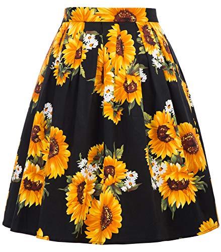 GRACE KARIN Falda Negra Fiesta Girasol Floral Pin