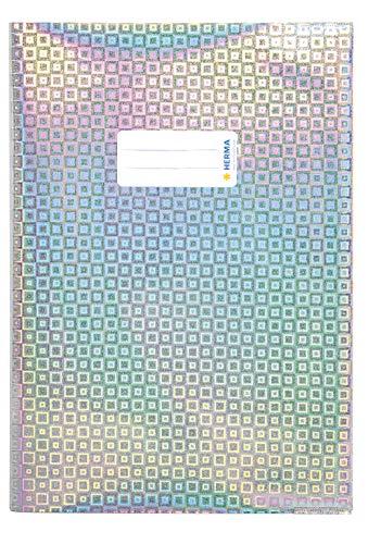 HERMA 19473 Heftumschlag DIN A4 Glamour, mit Beschriftungsetikett, aus strapazierfähiger und abwischbarer Polypropylen-Folie, 1 Heftschoner für Schulhefte, silber
