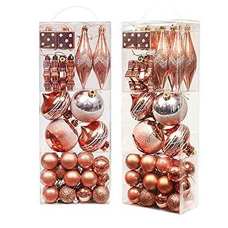 Valery Madelyn 40Pcs Bolas de Navidad Set, Adornos de Navidad para Arbol, Decoración de Bolas Navideños Inastillable Plástico de Cobre y Dorado, Regalos de Colgantes de Navidad (Bosque)