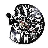 AIYOUBU Horloge Murale Féminine Bodybuilder Haltérophilie Art Mural Horloge Lady Builder Muscle Femmes Crossfit Workout Disque Vinyle Horloge Murale