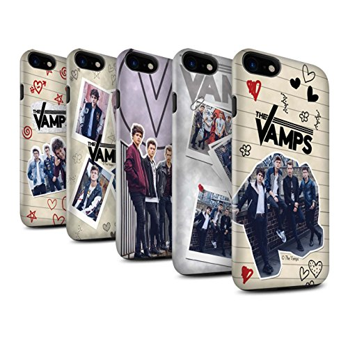 Offiziell The Vamps Hülle / Glanz Harten Stoßfest Case für Apple iPhone 7 / Pack 5Pcs Muster / The Vamps Doodle Buch Kollektion Pack 5Pcs