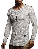 LEIF NELSON Herren Pullover Rundhals Ausschnitt modernes Sweatshirt Crew Neck Rundkragen O-Neck Kurzarm Longsleeve Basic Polo Shirt Freizeit Hemd LN8182; Größe S; Schwarz