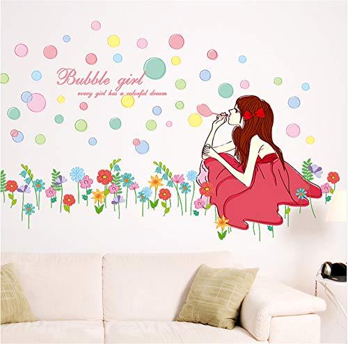 Bunte Blasen Blumenmädchen Wandaufkleber Large Size Wandbild Kunst für Wohnzimmer Mädchen Schlafzimmer Dekoration Home Decor