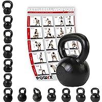 Pesa rusa de Powrx, de 4 a 30kg, hierro fundido, Incluye tabla de ejercicios, pesa de gimnasia oscilante, con mancuernas, redonda, de hierro fundido