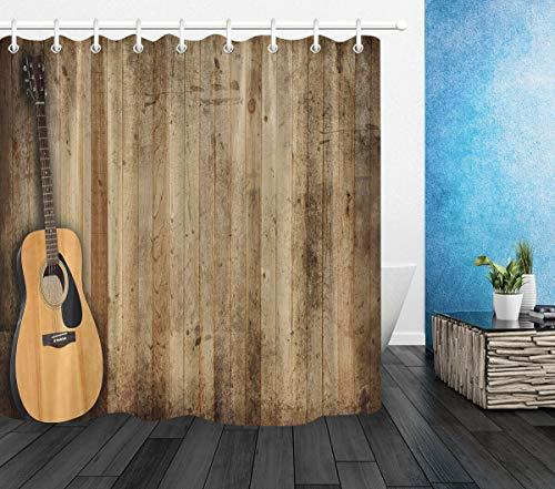 Aliyz Gitarre Land Alte Scheune Holz Wand Home Hotel Badezimmer Dekoration Haken Wasserdicht Mehltau Stoff Duschvorhänge Vorhang Polyester Material 71x71 Zoll (Vorhänge Badezimmer-fenster Land)