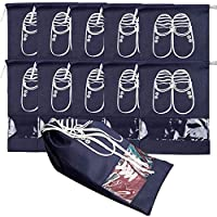 NAHUAA 10 Pack Travel Shoe Bags, Waterproof Portable Dust-proof Breathable Travel Shoe Organizer with Drawstring and Transparent Window for Shoes Boots High Heel Storage Bags, L Navy Blue