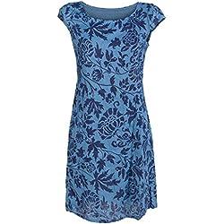 GS-Fashion Leinenkleid Damen Sommer mit Blumen Kleid ärmellos Knielang Taubenblau 44 (Herstellergröße XXXL)