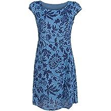 GS-Fashion Leinenkleid Damen Sommer mit Blumen Kleid ärmellos Knielang 4ed7a38068
