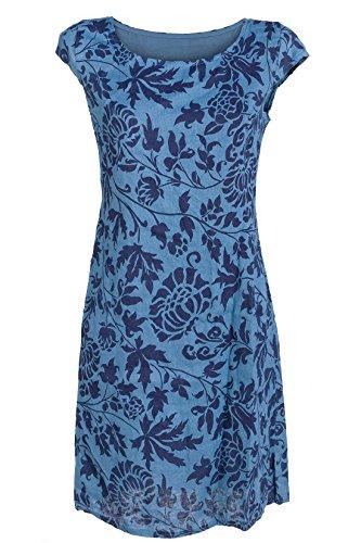 GS-Fashion Leinenkleid Damen Sommer mit Blumen Kleid ärmellos Knielang Taubenblau 36 (Herstellergröße M)
