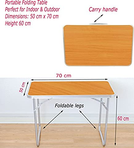 Denny International® Portable Folding Wooden MDF Table for Indoor Outdoor Picnic Party Camping & Dining (2.3 ft Folding Table)